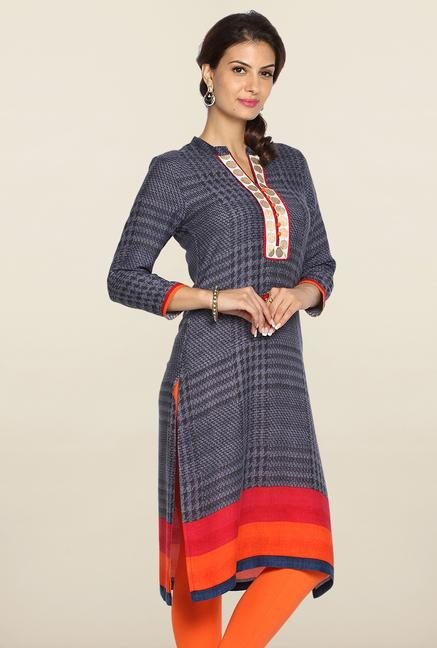 Soch Indigo & Orange Ikkat Cotton Kurti
