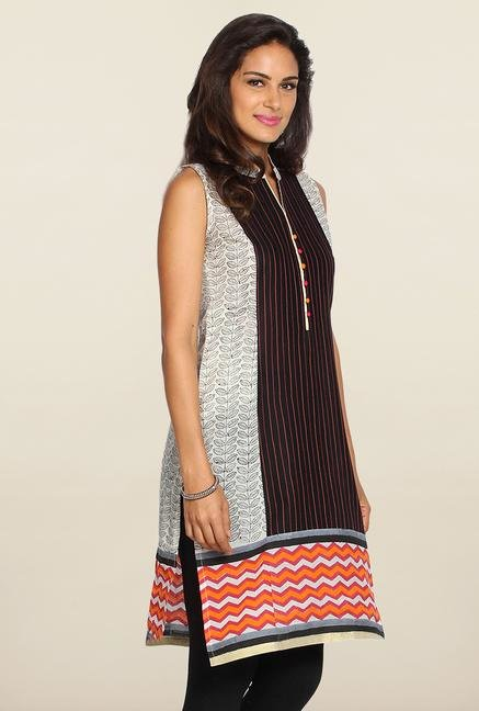 Soch White & Black Printed Cotton Kurti