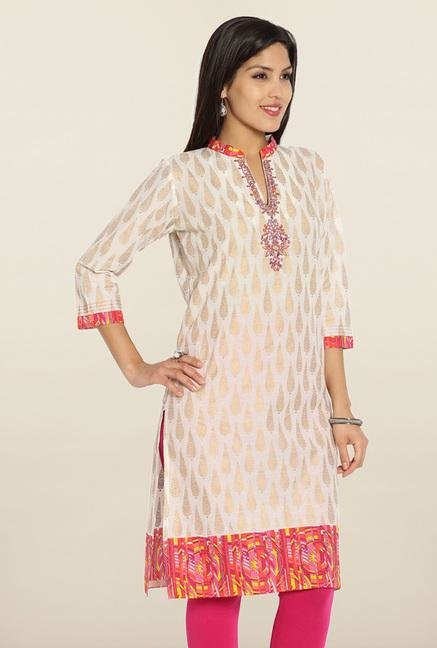 Soch Cream & Pink Printed Cotton Kurti