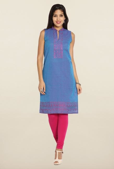 Soch Blue & Pink Embroidered Cotton Kurti