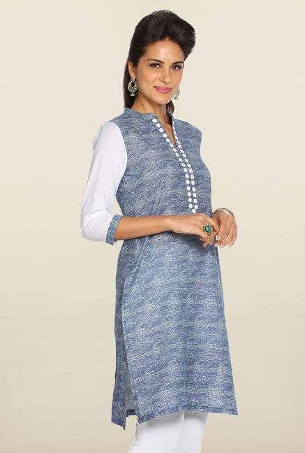 Soch Blue & White Shaded Cotton Kurti