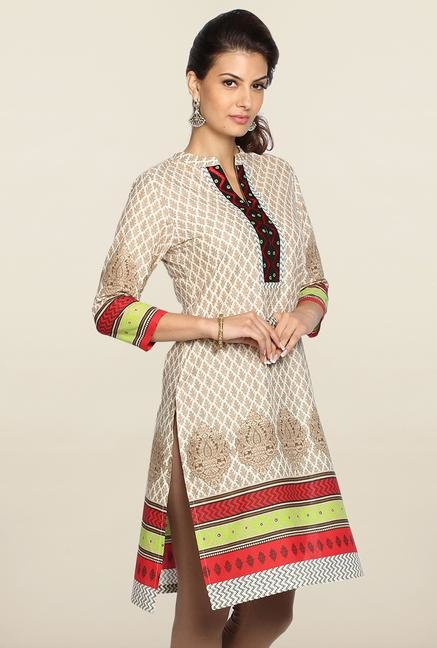 Soch Off White & Brown Embroidered Kurti