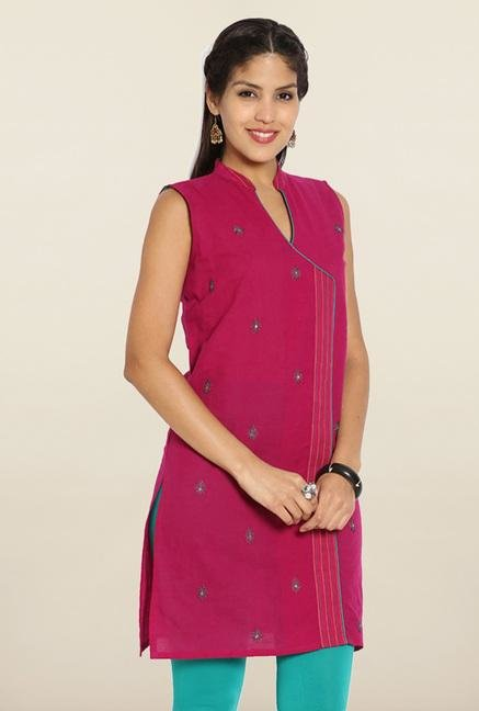 Soch Pink & Green Embroidered Cotton Kurti