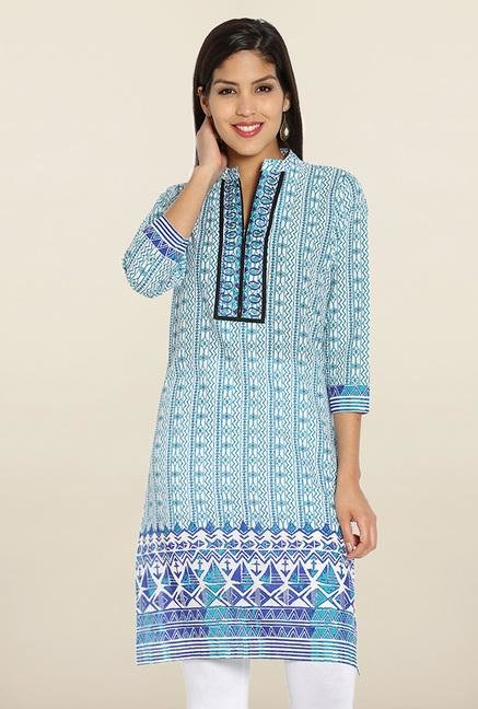 Soch Blue Printed Cotton Embroidered Kurti