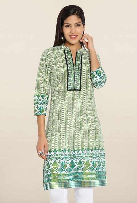 Soch Green Printed Cotton Embroidered Kurti