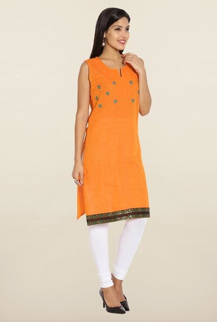 Soch Orange Embroidered Cotton Kurti