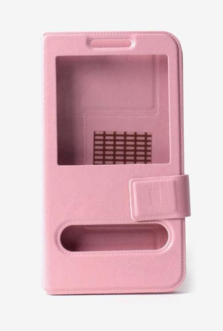 Callmate Window Sticker Flip Cover for Lava 405+ Light Pink