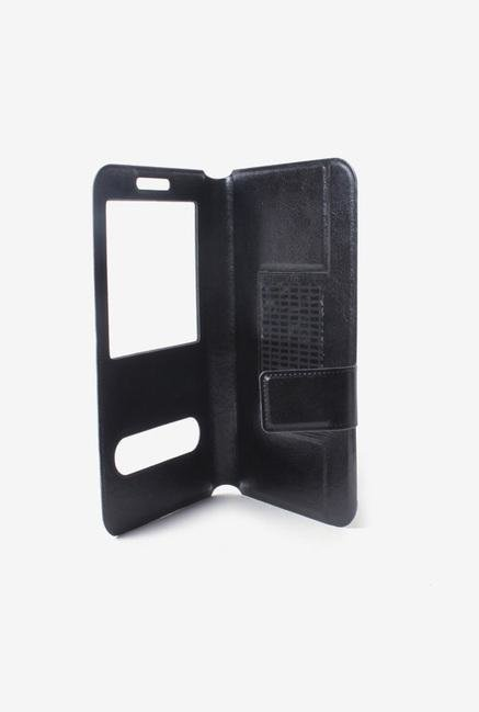 Callmate Window Sticker Flip Cover for Lava Iris 405+ Black