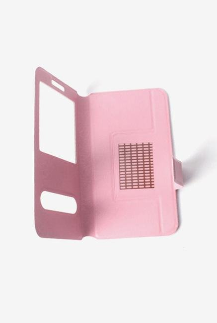 Callmate Window Sticker Flip Cover for Lava 406Q Light Pink