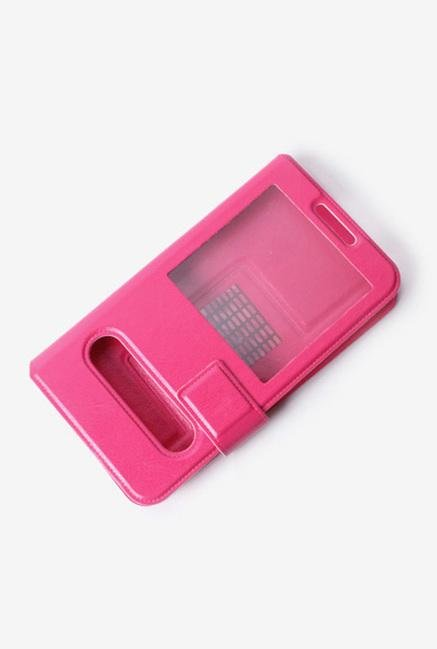 Callmate Window Sticker Flip Cover for Lava 406Q Dark Pink
