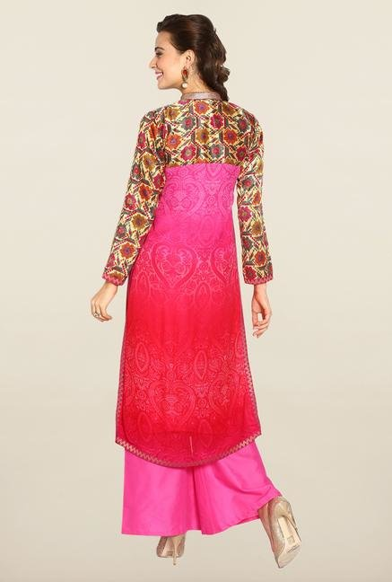 Soch Fuchsia Embroidered Chiffon Suit Set