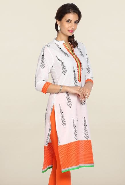 Soch White & Orange Embroidered Kurti