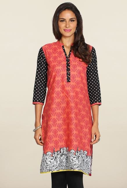 Soch Peach & Black Printed Cotton Kurti