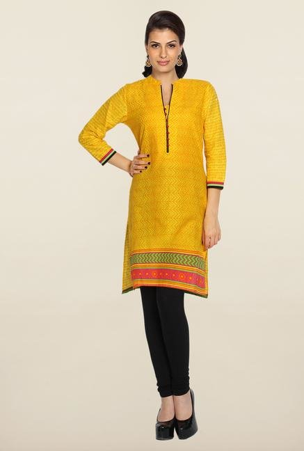 Soch Yellow & Orange Printed Cotton Kurti