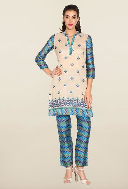 Soch Cream & Blue Kota Suit Set