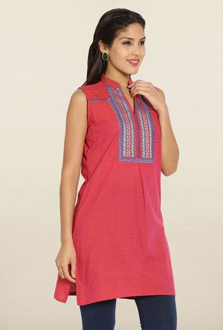 Soch Pink & Blue Embroidered Cotton Kurti