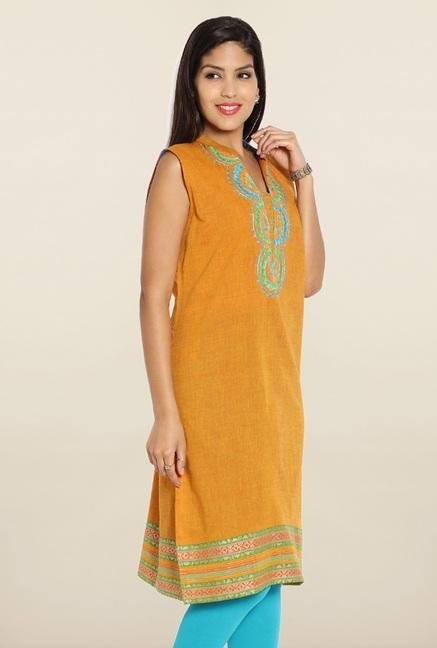 Soch Mustard & Blue Embroidered Cotton Kurti