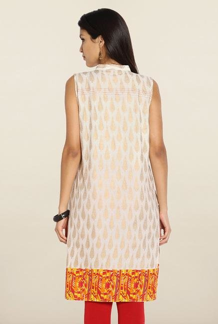 Soch Cream & Orange Printed Cotton Kurti