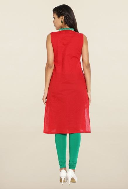 Soch Red & Green Embroidered Cotton Kurti