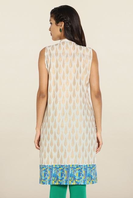 Soch Cream & Blue Printed Cotton Kurti
