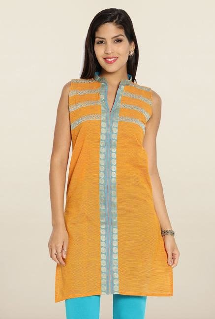 Soch Orange & Blue Embroidered Cotton Kurti