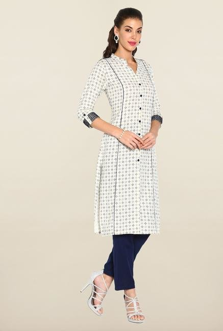 Soch White & Navy Blue Cotton Suit Set