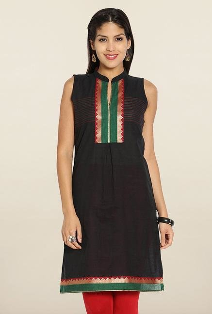 Soch Black & Maroon Sleeveless Cotton Kurti