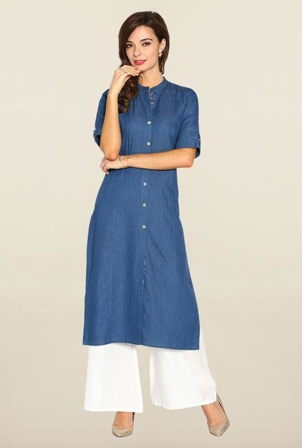 Soch Blue & White Denim Suit Set