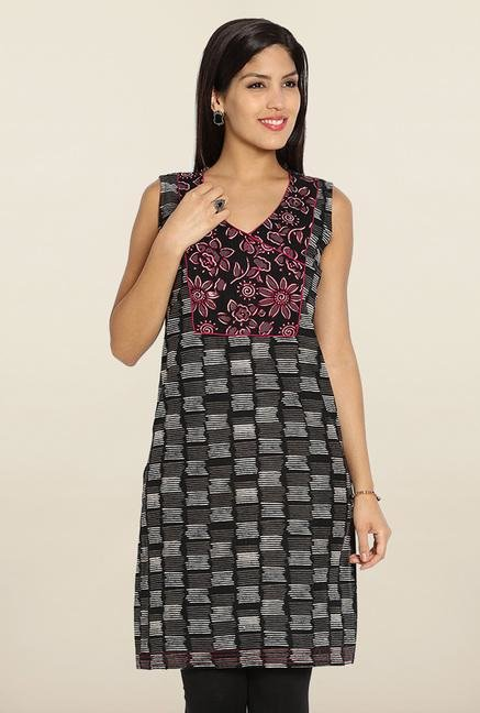 Soch Black & Pink Sleeveless Cotton Kurti