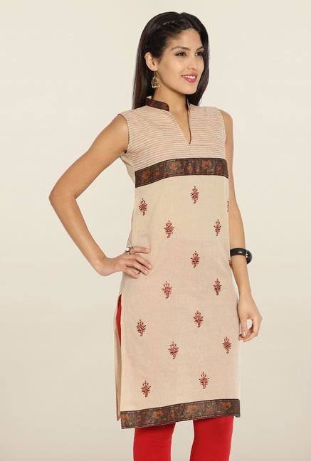 Soch Beige & Brown Embroidered Cotton Kurti