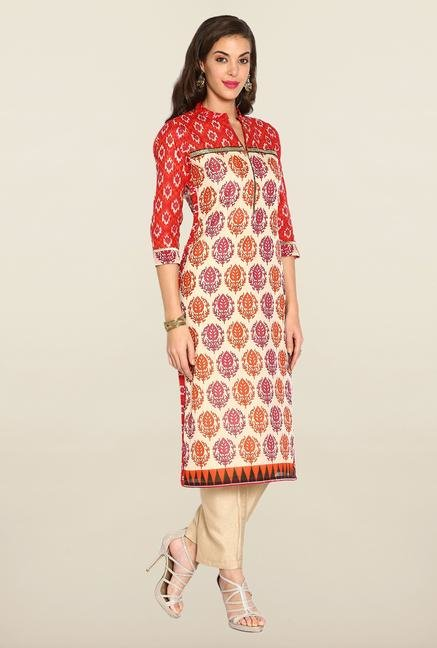 Soch Brick Red & Beige Ikat Suit Set