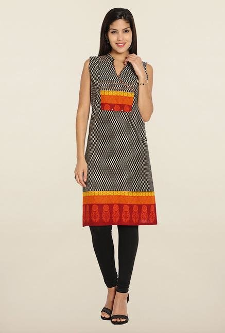 Soch Black & Orange Printed Cotton Kurti