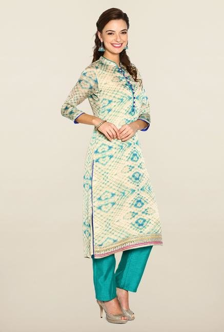 Soch Beige & Sea Green Cotton Suit Set