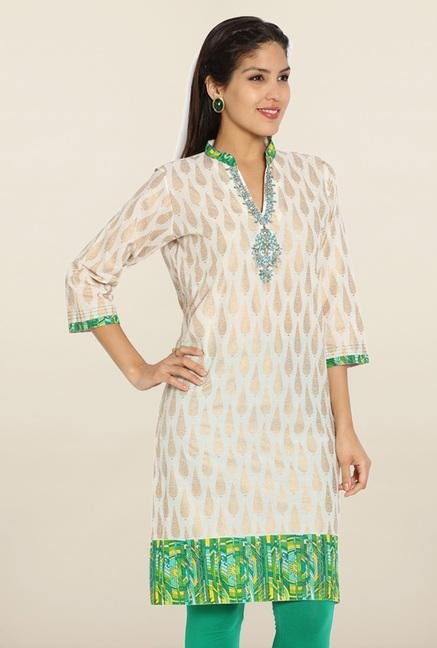 Soch Cream & Green Embroidered Cotton Kurti