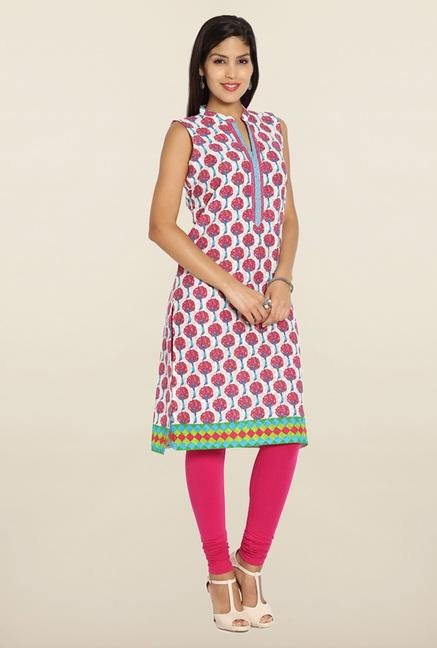 Soch White & Pink Printed Cotton Kurti