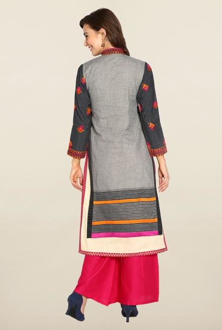 Soch Grey & Pink Cotton Suit Set