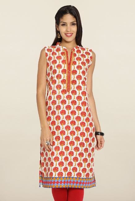 Soch White & Red Printed Cotton Kurti