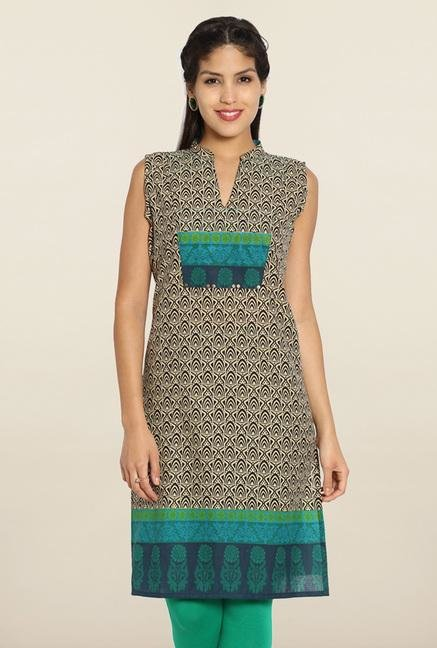 Soch Beige & Green Printed Cotton Kurti