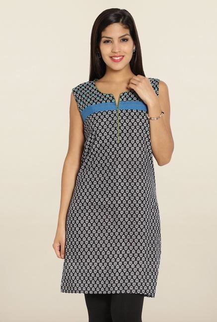 Soch Black & Blue Printed Cotton Kurti