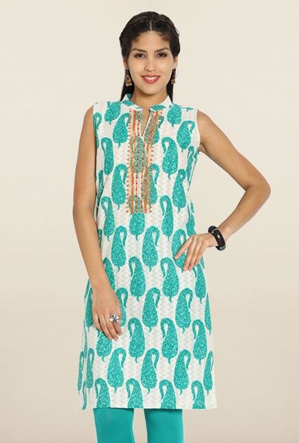 Soch Off White & Royal Green Paisley Cotton Kurti