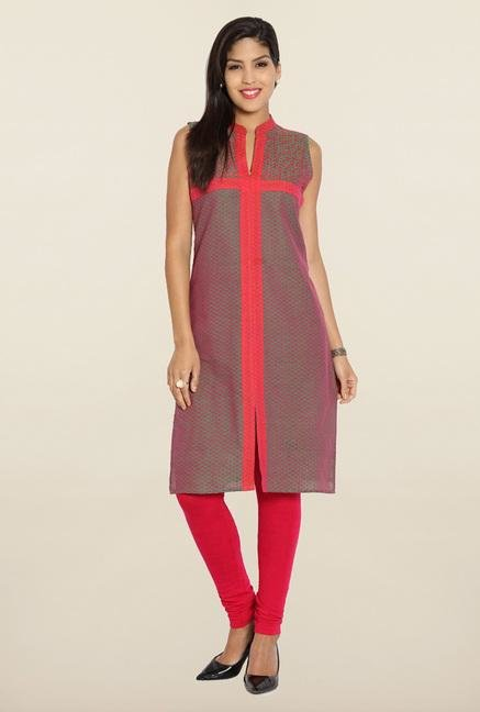 Soch Green & Red Printed Cotton Embroidered Kurti