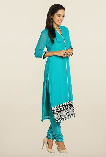 Soch Teal & White Georgette Suit Set