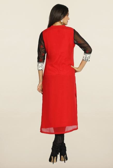 Soch Red & Black Georgette Suit Set