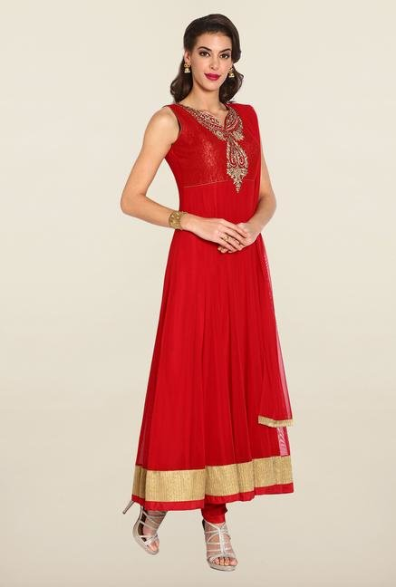 Soch Red & Gold Anarkali Chudidhar Suit Set
