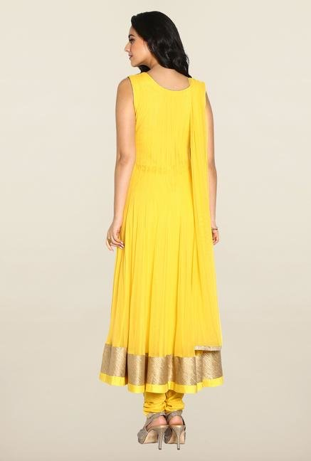 Soch Yellow & Gold Anarkali Chudidhar Suit Set