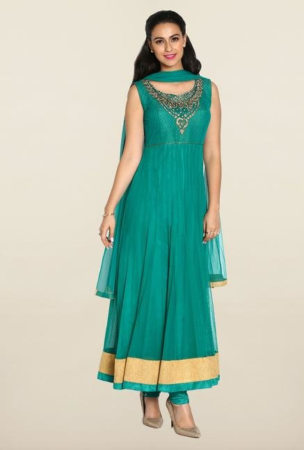 Soch Emerald & Gold Anarkali Chudidhar Suit Set