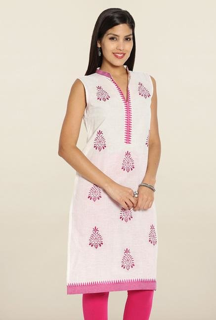 Soch White & Pink Embroidered Cotton Kurti