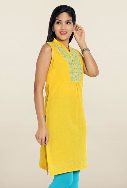 Soch Yellow & Blue Embroidered Cotton Kurti