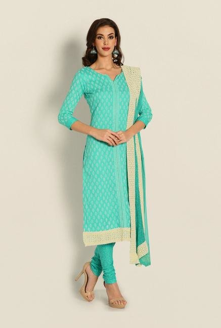 Soch Teal Printed Cotton Dress Material