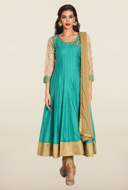 Soch Green & Beige Anarkali Chudidhar Suit Set